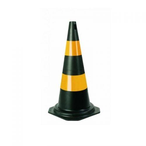 Cone PVC 50 Cm Preto/Amarelo Plastcor