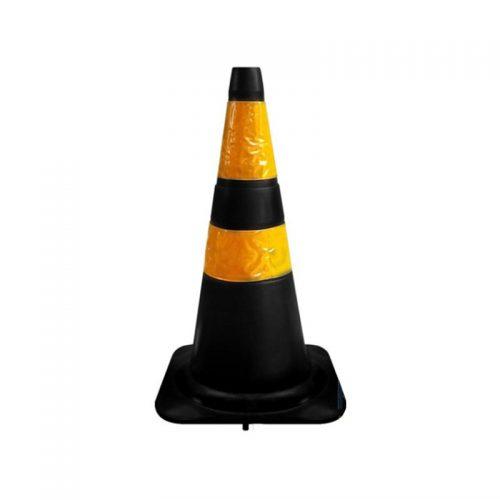 Cone Flexível com Faixa Refletivo 75 cm Preto/Amarelo Plastcor