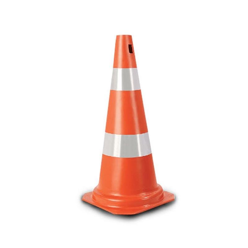 Cone Flexível com Faixa Refletivo 75 cm Laranja/Branca Plastcor