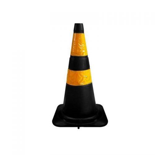 Cone Flexível com Faixa Refletivo 50 cm Preto/Amarelo